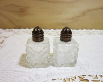 Vintage Cut Crystal Salt and Pepper Shakers * Miniature Brass Tops Made in Japan Salt and Pepper Shakers
