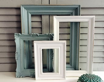 Sea Foam Green Gallery Wall Frame Set; Hand-Painted Frame Set; Distressed Frame Set; Shabby Chic Frames
