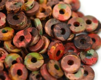 8mm Washer Round - Autumn Rust - Mykonos Greek Ceramic Beads - QTY: 50, 100 or 150
