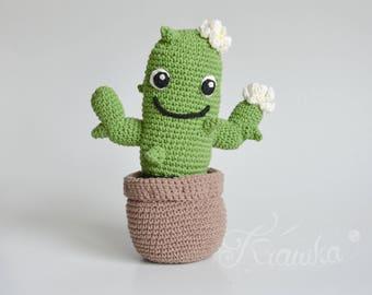 Crochet PATTERN No 1727 Friendly Cactus plant in a flowerpot by Krawka