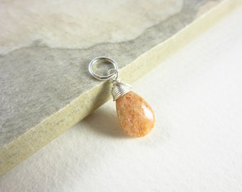LtWt- Sunstone Jewelry - Sunstone Pendant - Sterling Silver Charms - Natural Gemstone Jewelry - Wire Wrapped Stone Pendant - Healing Stones