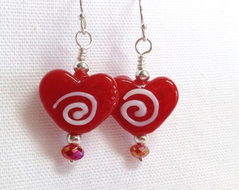Swirly Red Candy Heart Earrings
