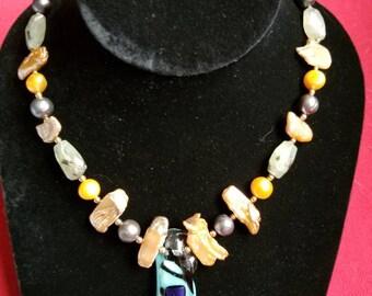 Aqua and Purple - make a statement necklace