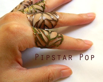 Filigree Leaf Ring (1 ring or set of 5) Adjustable Leaf Ring Bronze Leaf Jewelry Knuckle Ring Armor Ring - larp jewelry,cosplay,elven armor
