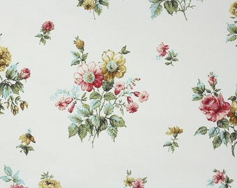 1950s Vintage Wallpaper by the Yard - Floral Wallpaper Gold Pink and Red Flower Bouquets on White
