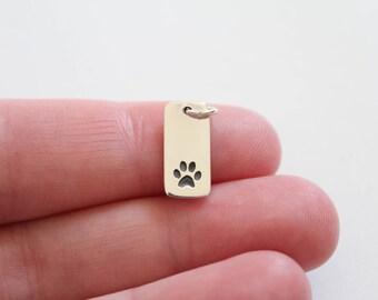 Sterling Silver Paw Print Pendant, Paw Print Charm, Paw Print Rectangle Charm, Puppy Paw Print Pendant, Dog Paw Print Charm, Cat Paw Print