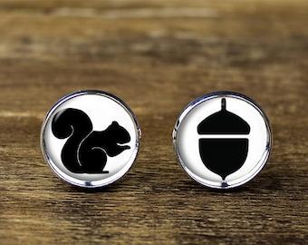 Squirrel cufflinks, Squirrel and Nut cufflinks, Squirrel jewelry, Squirrel accessories