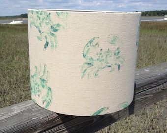 Linen Drum Lamp Shade with Blue Crab Motif
