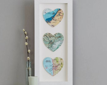Three custom Map Location Hearts Print - wedding gift - anniversary gift for wife - personalised map gift - world map - gift for her