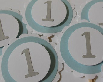 1st Birthday Cupcake Toppers - Blue, Gray and White - Boy Birthday Party Decorations - Set of 6