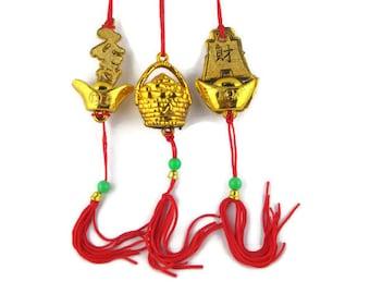 3 Vintage Feng Shui Golden Wealth Pot Gold Ingots Mystic Knot Silk Cord  Tassel Hangers Purse Charms Zipper Pulls