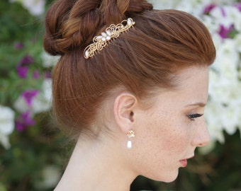 Decorative Comb, Bridal Hair Accessories, Gold comb, Pearl Comb, Bridesmaid Gift, Hair Pins, Hair Jewelry, Wedding Hair Jewelry, Vintage pin