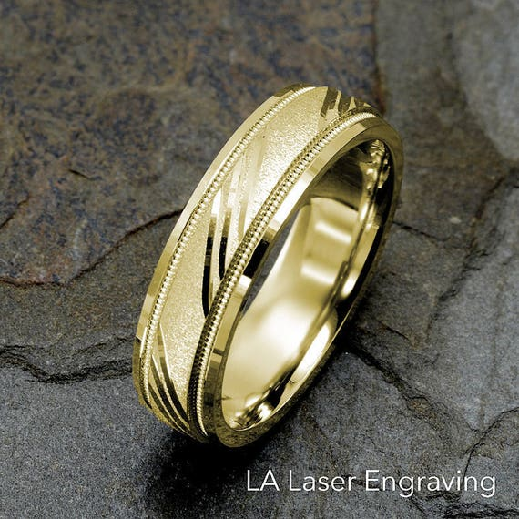 Yellow Wedding Band Mens Gold Ring Wedding Bands Mens