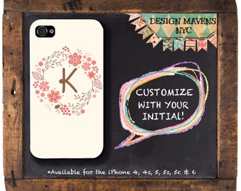 Floral Wreath iPhone Case, Personalized iPhone Case, iPhone 4, 4s, iPhone 5, 5s, 5c, iPhone 6, 6s, 6 Plus, Phone Case