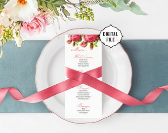 Flower wedding Menu, Vintage menu, printable wedding menu, shabby chic menu, roses wedding menu, flower menu, wedding menu, diy menu, Elise
