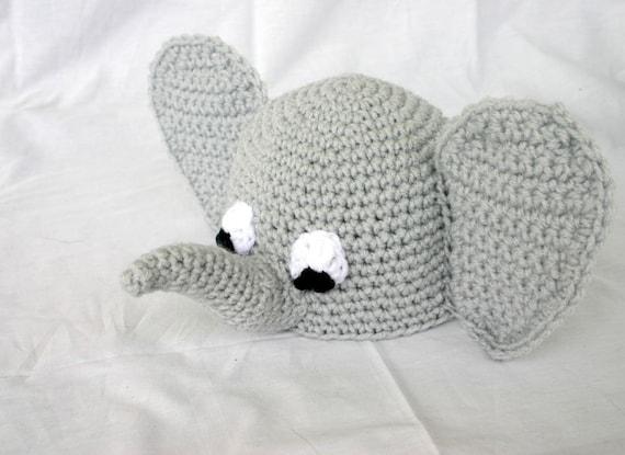 Crocheted Baby Elephant Beanie Hat 0 3 Month Newborn Shower