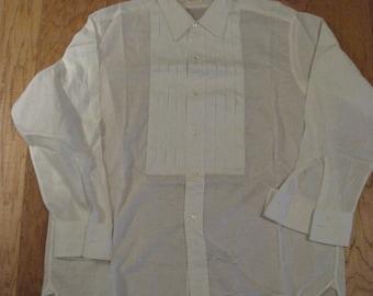 1970s White Van Heusen NOS Collarite Mens Tuxedo Shirt/ Vintage Tux Shirt Mens Vintage Dress Shirt / Size 16/32 / Vtg Bridal/Prom Tux Shirt