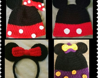 Crochet Minnie & Mickey Mouse inspired