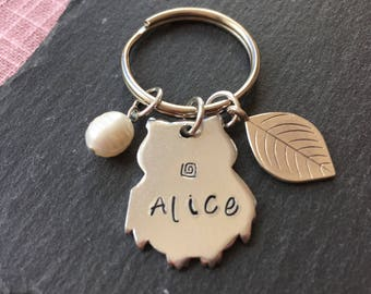 Owl Keyring, Personalised Hand stamped Owl keychain, Hand stamped key ring, Initial key chain, stocking gift