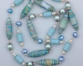 Paper Bead Necklace, Opera Necklace, Aqua Beaded Necklace