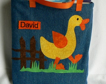 Kids Duck Book Bag|Children Personalized Book Bag|Toddler Gift Tote|Birthday Party Book Bag|Yellow Duck Toddler Book Bag|Preschool Book Bag