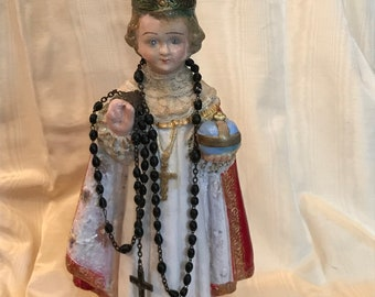 "Infant of Prague Religious Art Statue w Rosary Chalkware Hand Painted 13"" Tall"