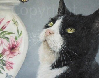 Black and white cat portrait, black and white cat oil painting, cat portrait, cat picture, cat lover gift