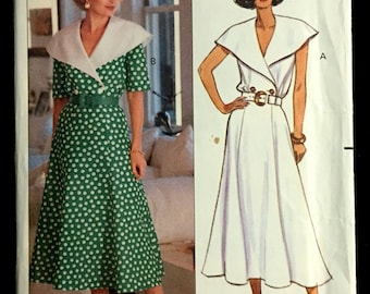 Vintage SKIRT TOP Sewing Pattern ~ HTF 1990 Very Easy Big Collar Double Breasted Top 3 Sizes