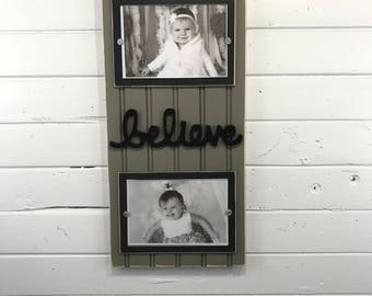Love distressed picture frame holds 2-4x6 photos lavender purple