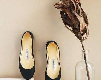 The Classic Black Ballet Flats | Pointe Style Shoes | Classic Model | Standard Width | Black | Ready to Ship