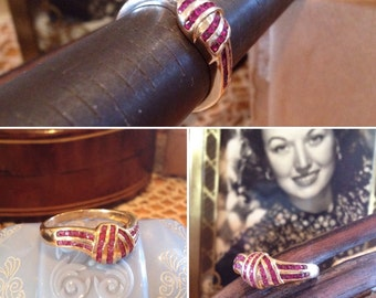 Vintage 14k yellow gold Ruby Knot Ring   42 Natural Round Rubies   Channel Set Cerise Ruby Knot Ring   1.26 CTW   SALE Originally 449-