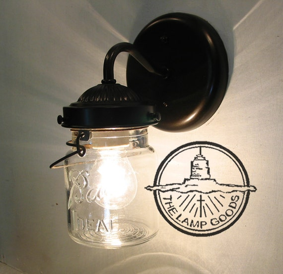 Mason Jar SCONCE Lighting Fixture With Vintage Pint Flush