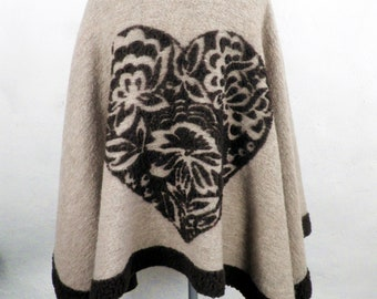 Beautiful Brown and Sand Wool Fleece Cape with Applique Heart  Free Size 1970s  Boho Art