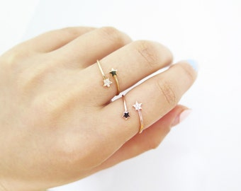Tiny star cz ring / Adjustable star ring / Open star ring /SIMPLE RING