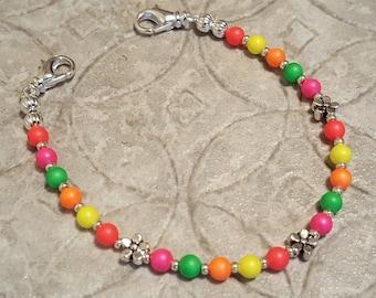 EXTRA SMALL Swarovski pearl multicolor medical alert bracelet size 5 five inches