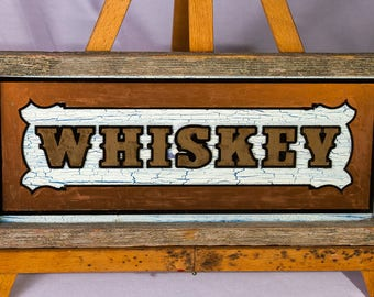 Vintage style etched glass Whiskey sign
