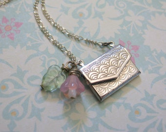 Sealed with a Kiss Envelope Silver Necklace