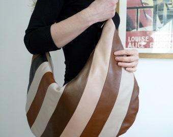 Leather handbag, brown leather bag, hobo bag, patchwork bag, vintage inspired bag, oversized bag, 70's style bag, retro handbag,