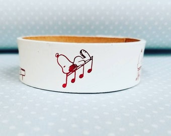 Jkleathers White Snoopy leather cuff hand stamped optional wear your story bracelet custom personalized words