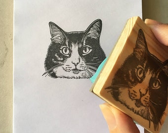 Pet portrait, custom rubber stamp, hand carved stamp, pet face, pet lover gift, personalized stamp