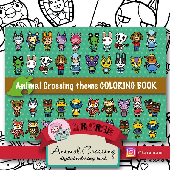 Animal Crossing Theme Coloring Book CB ACNL001 From Butterland On Etsy Studio