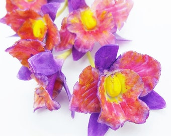 Handmade Polymer Clay Flowers Fantacy Orchid, 6 pieces