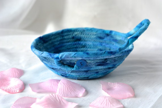 Rustic Indigo Basket, Handmade Blue Artisan Bowl, Father's Day Gift, Quilted Cotton Basket, Boho Chic Fabric Bowl, Itty Bitty Change Bowl