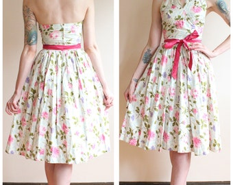 1950s Dress // Pretty Floral Cotton Halter 2pc Dress Set // vintage 50s dress