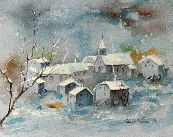 Original  watercolour painting of a village in the night in winter - snow covered houses painting