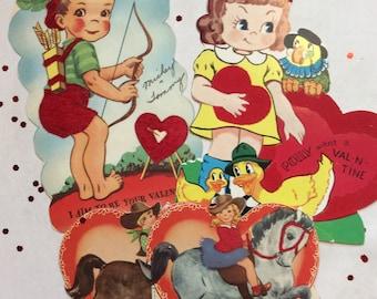 Vintage Valentines Day Cards Flocked Mid Century Children Valentine Ephemera