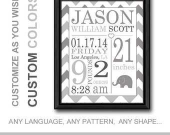 Monochrome baby etsy monochrome baby gift gray birth print personalized baby decor baby birth announcement negle Image collections