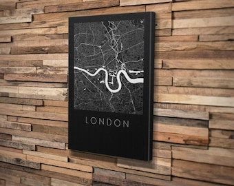 Custom Map Art Mounted Canvas. Personalised Print Any Location. Modern Design. Personalised Map Print.