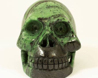 Large Ruby in Zoisite Skull   -   Great carving and high quality skull