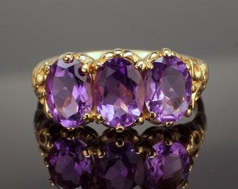 Amethyst Ring, Triple Gemstone Ring, Victorian Style 3 Stone Ring